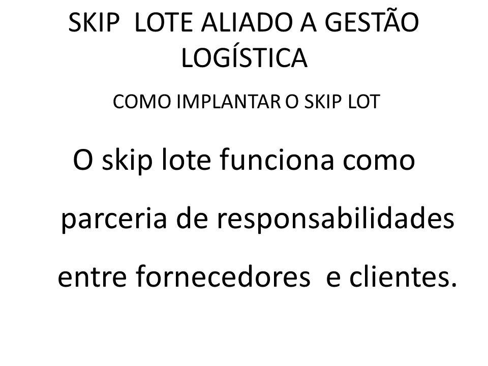 SKIP LOTE ALIADO A GESTÃO LOGÍSTICA COMO IMPLANTAR O SKIP LOT O skip lote funciona como parceria de responsabilidades entre fornecedores e clientes.
