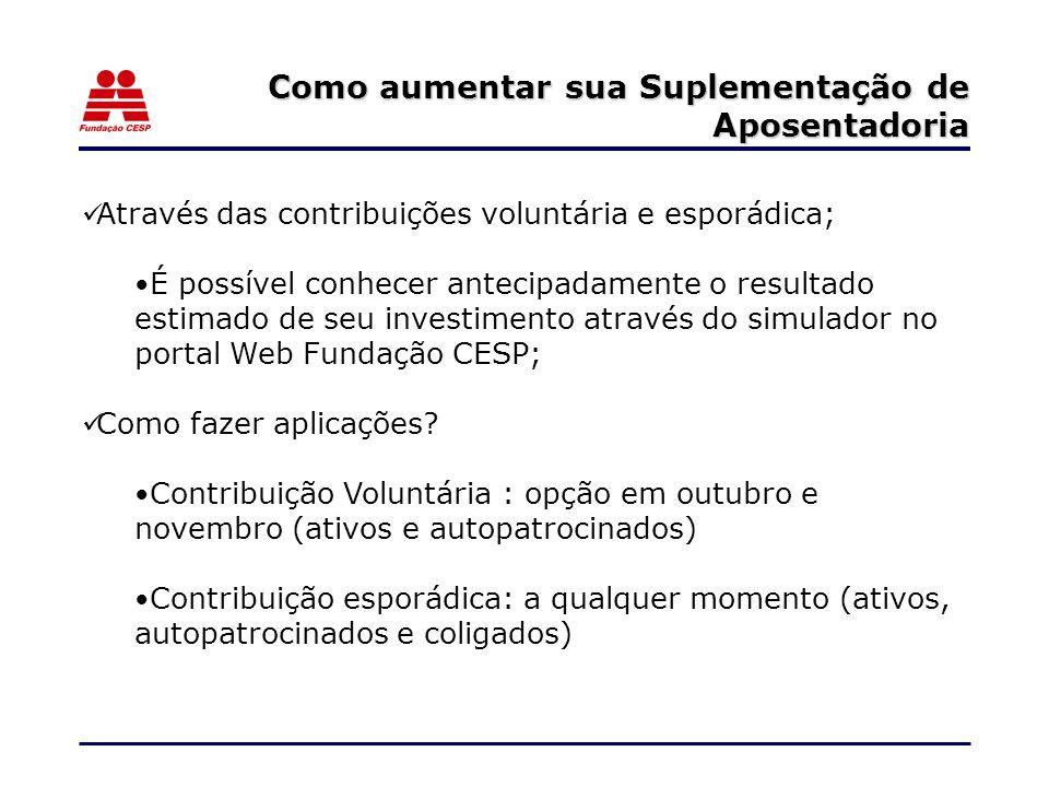Através das contribuições voluntária e esporádica; É possível conhecer antecipadamente o resultado estimado de seu investimento através do simulador no portal Web Fundação CESP; Como fazer aplicações.