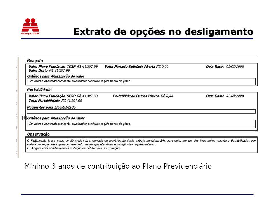 Extrato de opções no desligamento Mínimo 3 anos de contribuição ao Plano Previdenciário