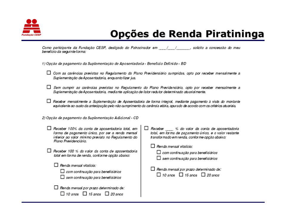 Opções de Renda Piratininga