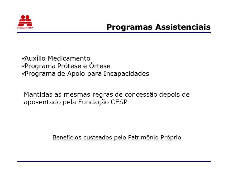 Programas Assistenciais Auxílio Medicamento Auxílio Medicamento Programa Prótese e Órtese Programa Prótese e Órtese Programa de Apoio para Incapacidades Programa de Apoio para Incapacidades Mantidas as mesmas regras de concessão depois de aposentado pela Fundação CESP Benefícios custeados pelo Patrimônio Próprio