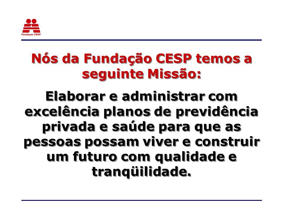 Nós da Fundação CESP temos a seguinte Missão: Elaborar e administrar com excelência planos de previdência privada e saúde para que as pessoas possam viver e construir um futuro com qualidade e tranqüilidade.