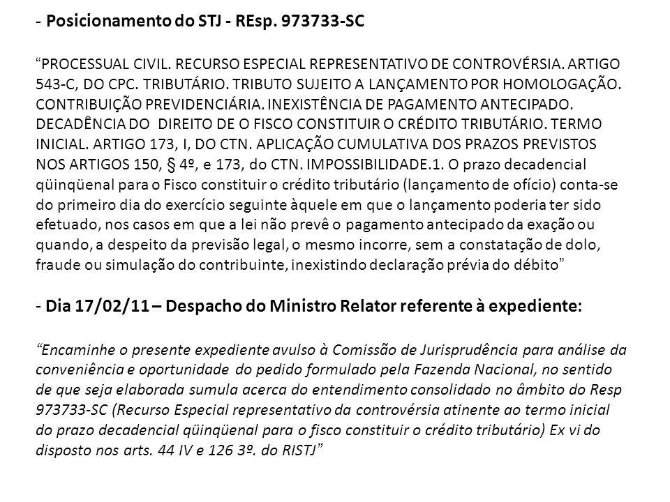 - Posicionamento do STJ - REsp. 973733-SC PROCESSUAL CIVIL. RECURSO ESPECIAL REPRESENTATIVO DE CONTROVÉRSIA. ARTIGO 543-C, DO CPC. TRIBUTÁRIO. TRIBUTO