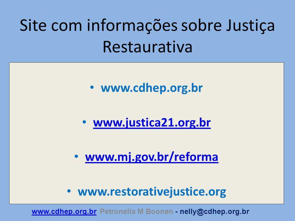 Site com informações sobre Justiça Restaurativa www.cdhep.org.br www.justica21.org.br www.mj.gov.br/reforma www.restorativejustice.org www.cdhep.org.brwww.cdhep.org.br Petronella M Boonen - nelly@cdhep.org.br
