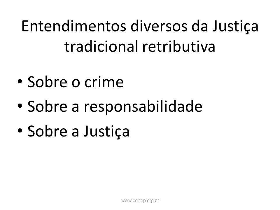 Entendimentos diversos da Justiça tradicional retributiva Sobre o crime Sobre a responsabilidade Sobre a Justiça www.cdhep.org.br