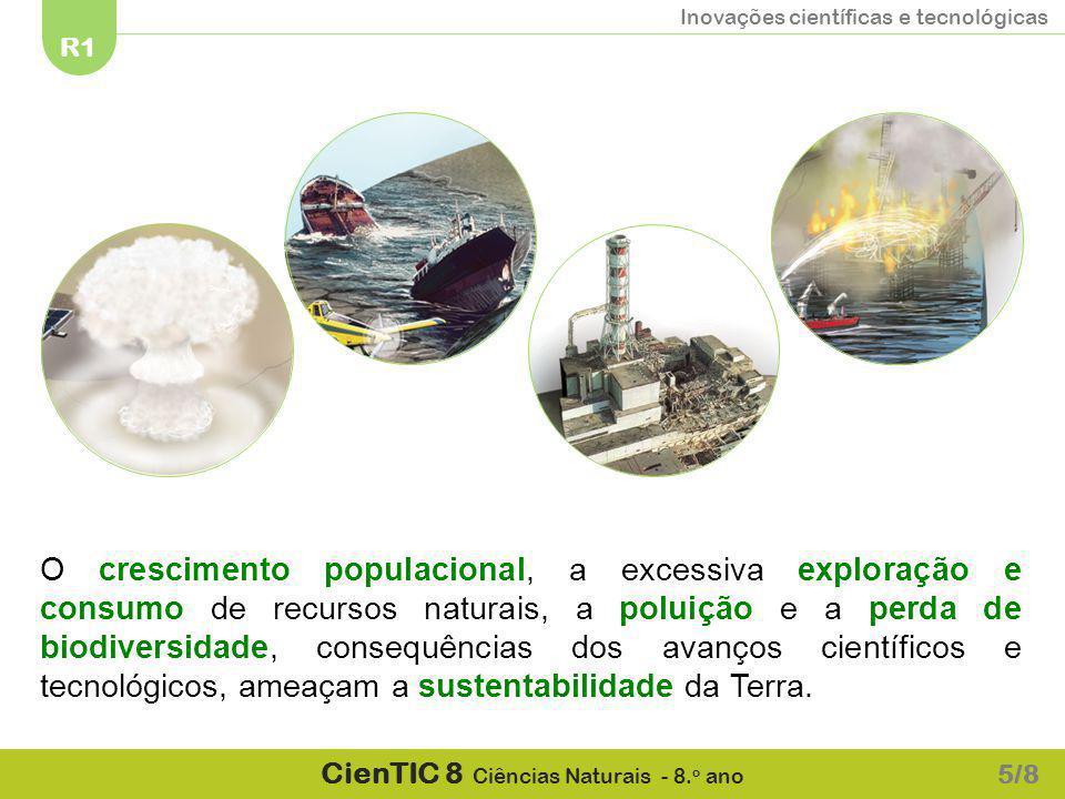 Inovações científicas e tecnológicas R1 CienTIC 8 Ciências Naturais - 8. o ano 5/8 O crescimento populacional, a excessiva exploração e consumo de rec