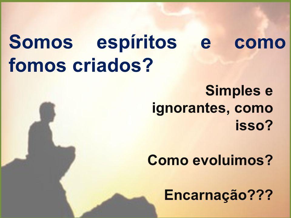 Somos espíritos e como fomos criados? Simples e ignorantes, como isso? Como evoluimos? Encarnação???