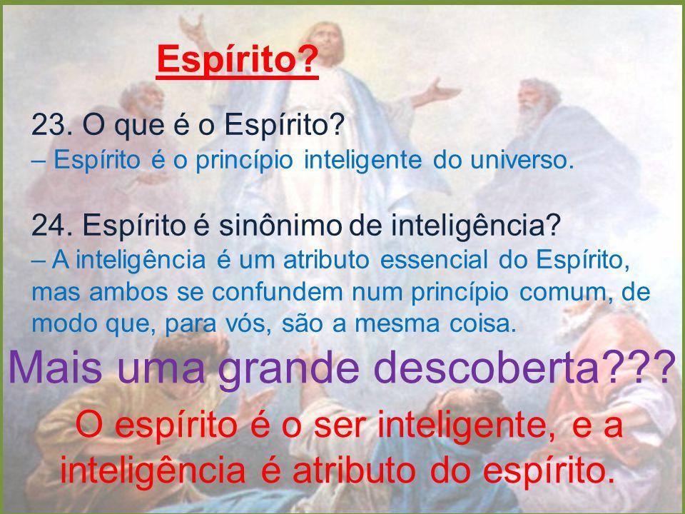 Espírito? 23. O que é o Espírito? – Espírito é o princípio inteligente do universo. 24. Espírito é sinônimo de inteligência? – A inteligência é um atr