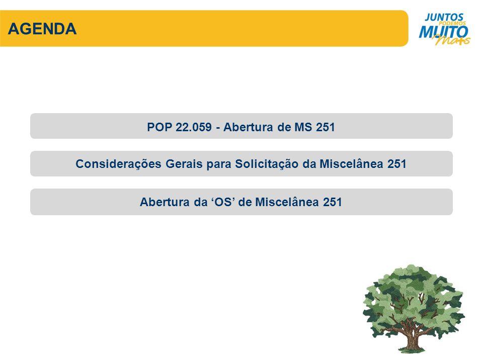 AGENDA Considerações Gerais para Solicitação da Miscelânea 251 Abertura da OS de Miscelânea 251 POP 22.059 - Abertura de MS 251