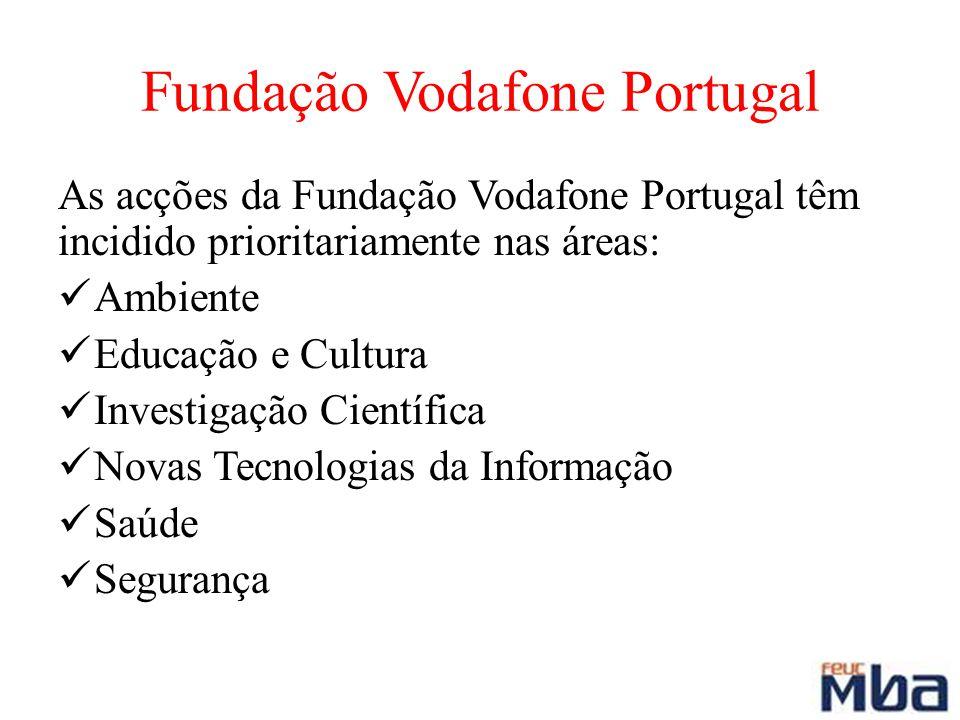 Fundação Vodafone Portugal As acções da Fundação Vodafone Portugal têm incidido prioritariamente nas áreas: Ambiente Educação e Cultura Investigação C