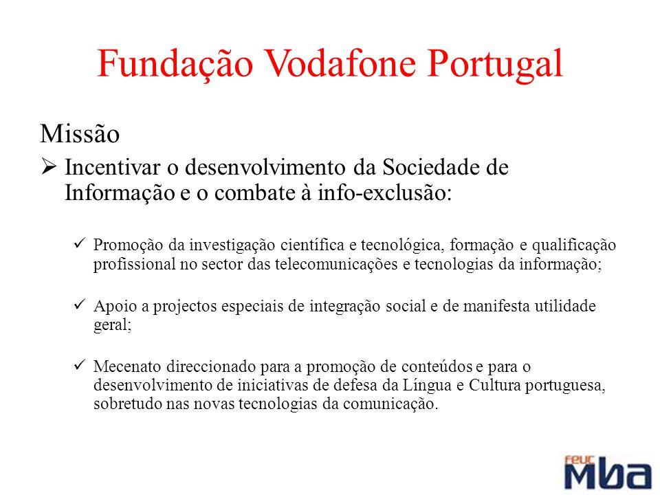 Fundação Vodafone Portugal Missão Incentivar o desenvolvimento da Sociedade de Informação e o combate à info-exclusão: Promoção da investigação cientí