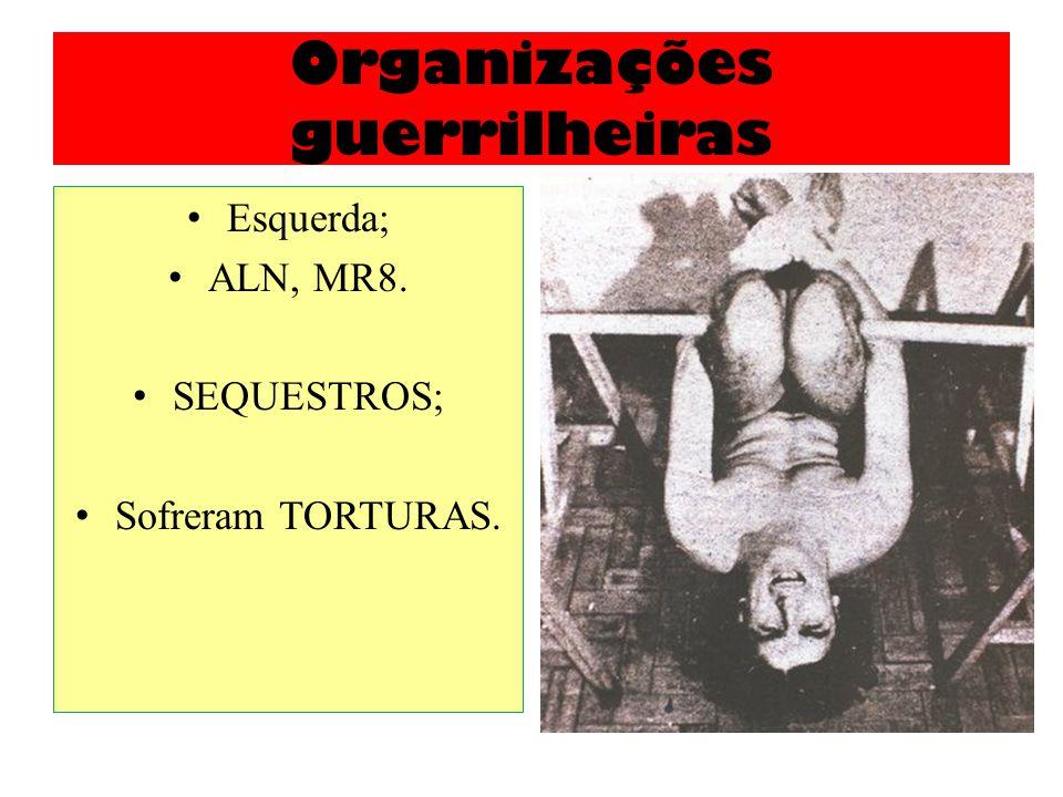 Organizações guerrilheiras Esquerda; ALN, MR8. SEQUESTROS; Sofreram TORTURAS.