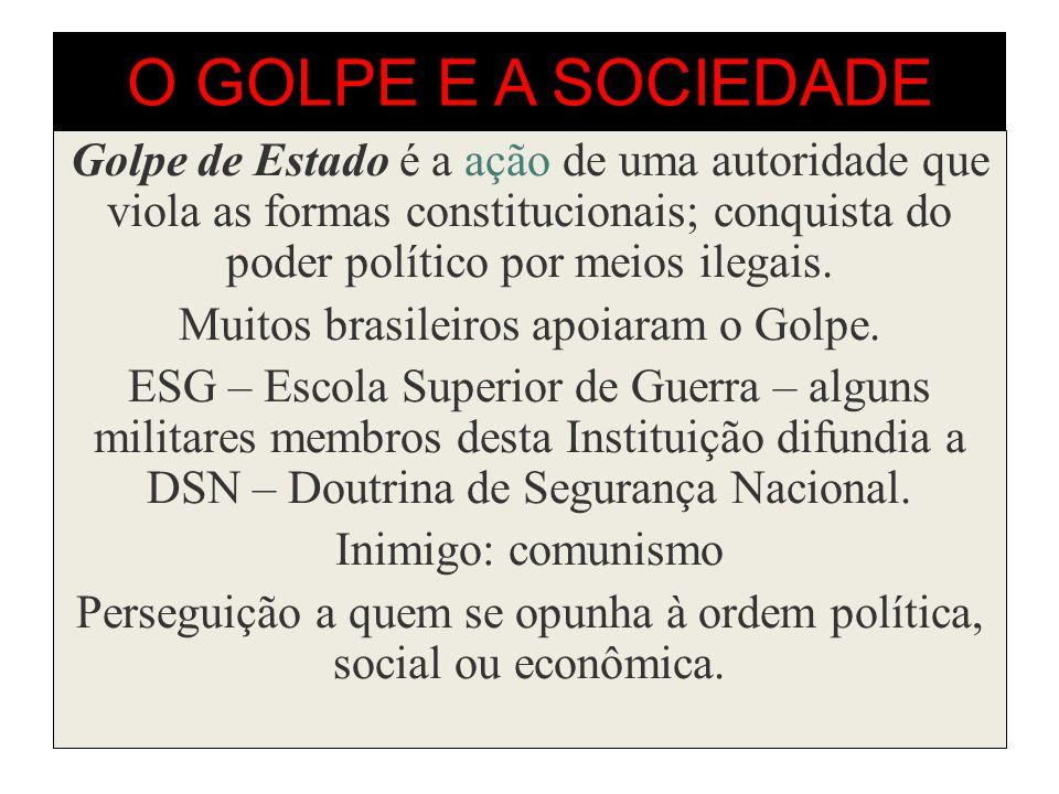 O GOLPE E A SOCIEDADE Golpe de Estado é a ação de uma autoridade que viola as formas constitucionais; conquista do poder político por meios ilegais.