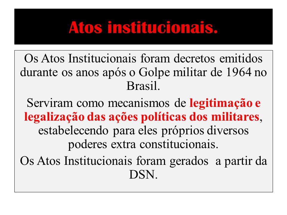 AI – 1 e AI - 2 AI – 1 Nomeação do general Humberto Castelo Branco para a presidência, ampliação dos poderes do presidente, determinação de que o governo poderia anular mandatos e suspender direitos políticos.