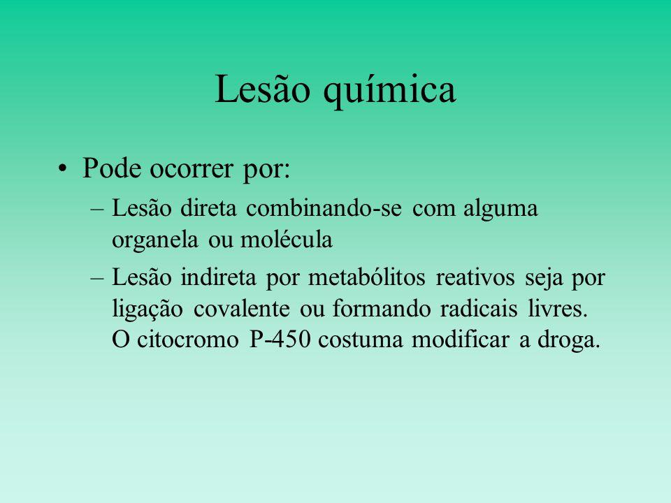 Lesão química Pode ocorrer por: –Lesão direta combinando-se com alguma organela ou molécula –Lesão indireta por metabólitos reativos seja por ligação covalente ou formando radicais livres.