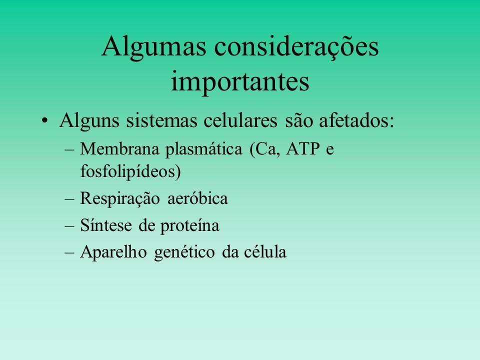 Algumas considerações importantes Alguns sistemas celulares são afetados: –Membrana plasmática (Ca, ATP e fosfolipídeos) –Respiração aeróbica –Síntese de proteína –Aparelho genético da célula