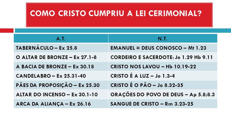 COMO CRISTO CUMPRIU A LEI CERIMONIAL? A.T.N.T. TABERNÁCULO – Ex 25.8EMANUEL = DEUS CONOSCO – Mt 1.23 O ALTAR DE BRONZE – Ex 27.1-8CORDEIRO E SACERDOTE