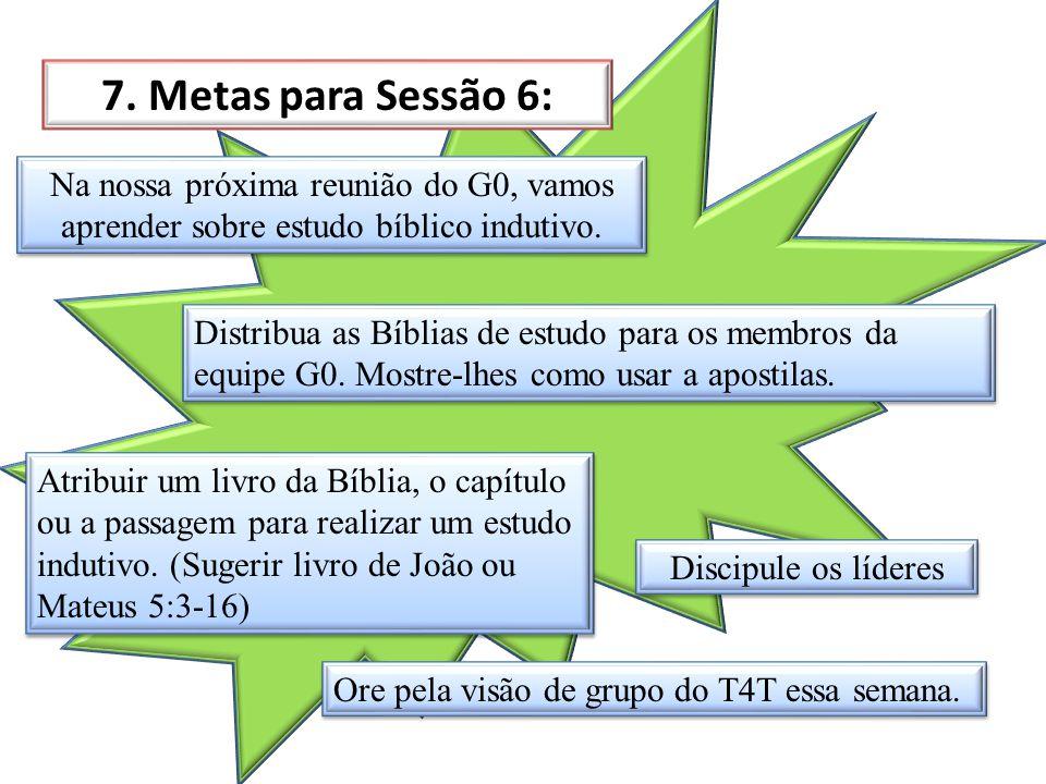 7. Metas para Sessão 6: Na nossa próxima reunião do G0, vamos aprender sobre estudo bíblico indutivo. Distribua as Bíblias de estudo para os membros d