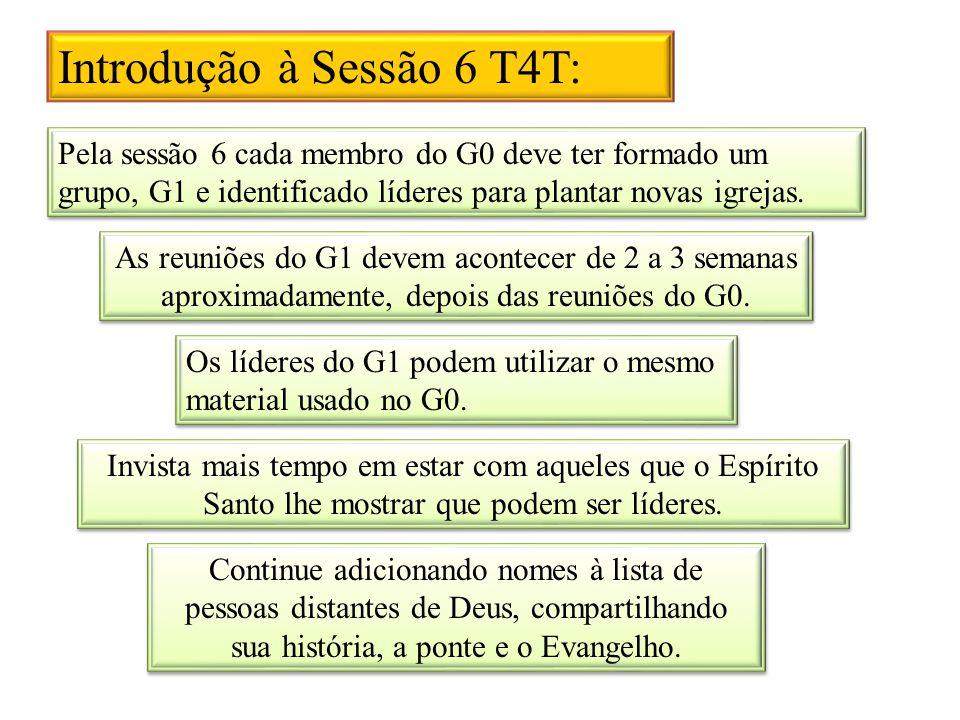 Introdução à Sessão 6 T4T: Pela sessão 6 cada membro do G0 deve ter formado um grupo, G1 e identificado líderes para plantar novas igrejas. As reuniõe