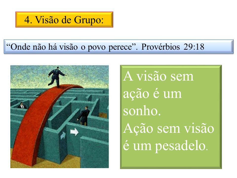 4. Visão de Grupo: Onde não há visão o povo perece. Provérbios 29:18 A visão sem ação é um sonho. Ação sem visão é um pesadelo.