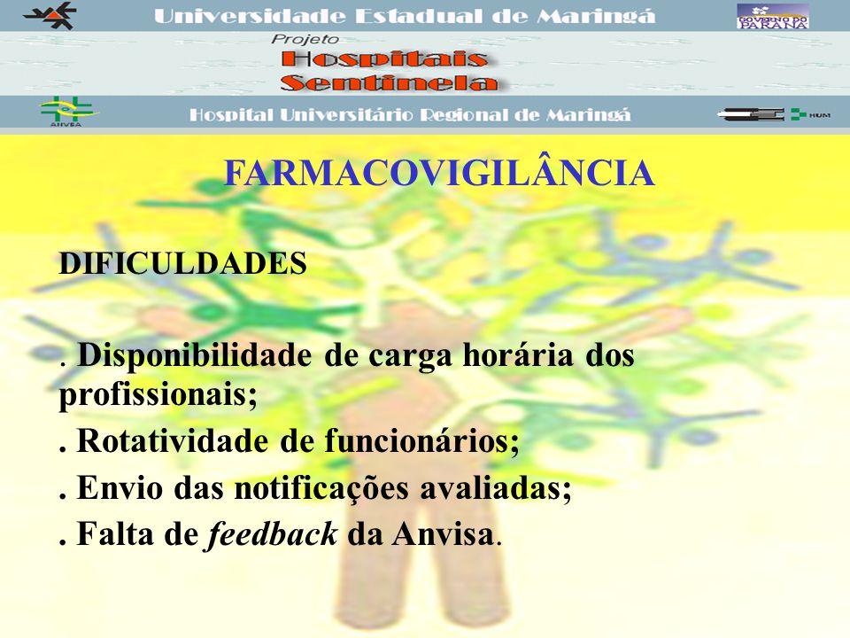 FARMACOVIGILÂNCIA DIFICULDADES.Disponibilidade de carga horária dos profissionais;.