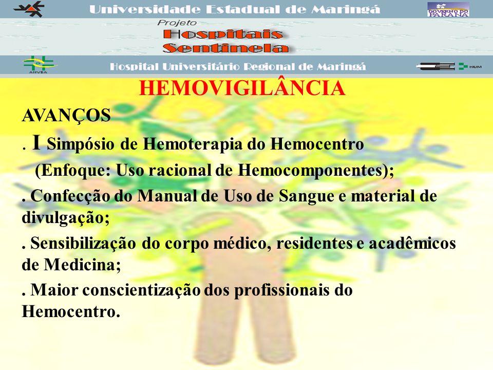 HEMOVIGILÂNCIA AVANÇOS.