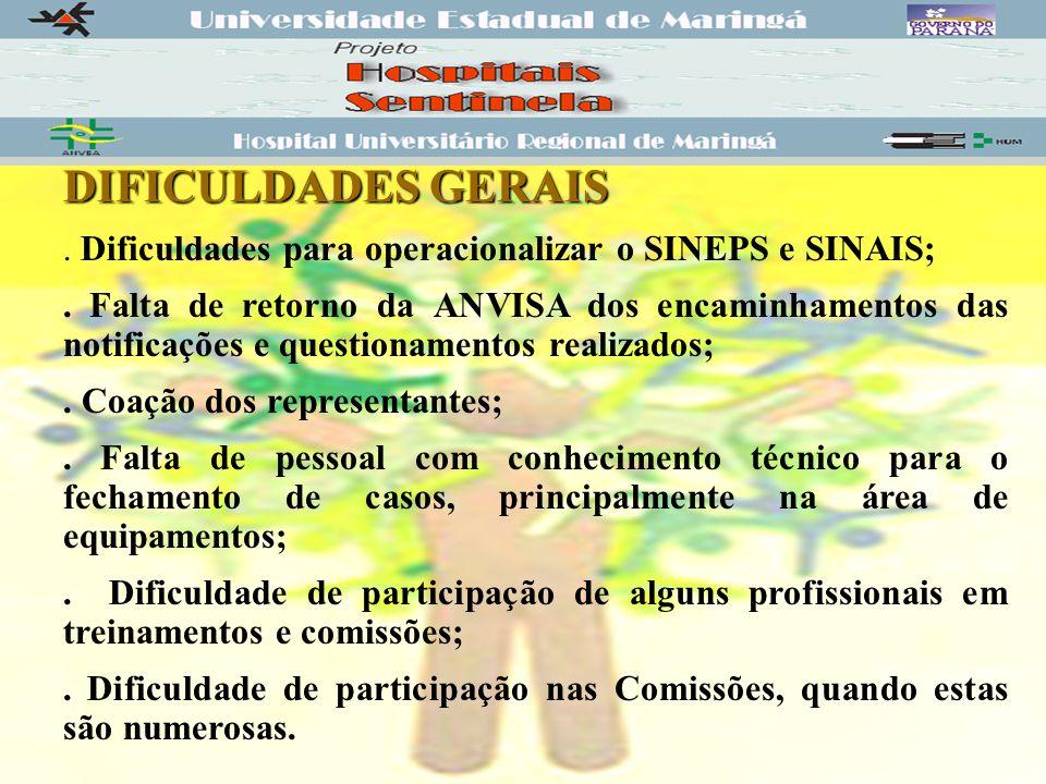 DIFICULDADES GERAIS.Dificuldades para operacionalizar o SINEPS e SINAIS;.