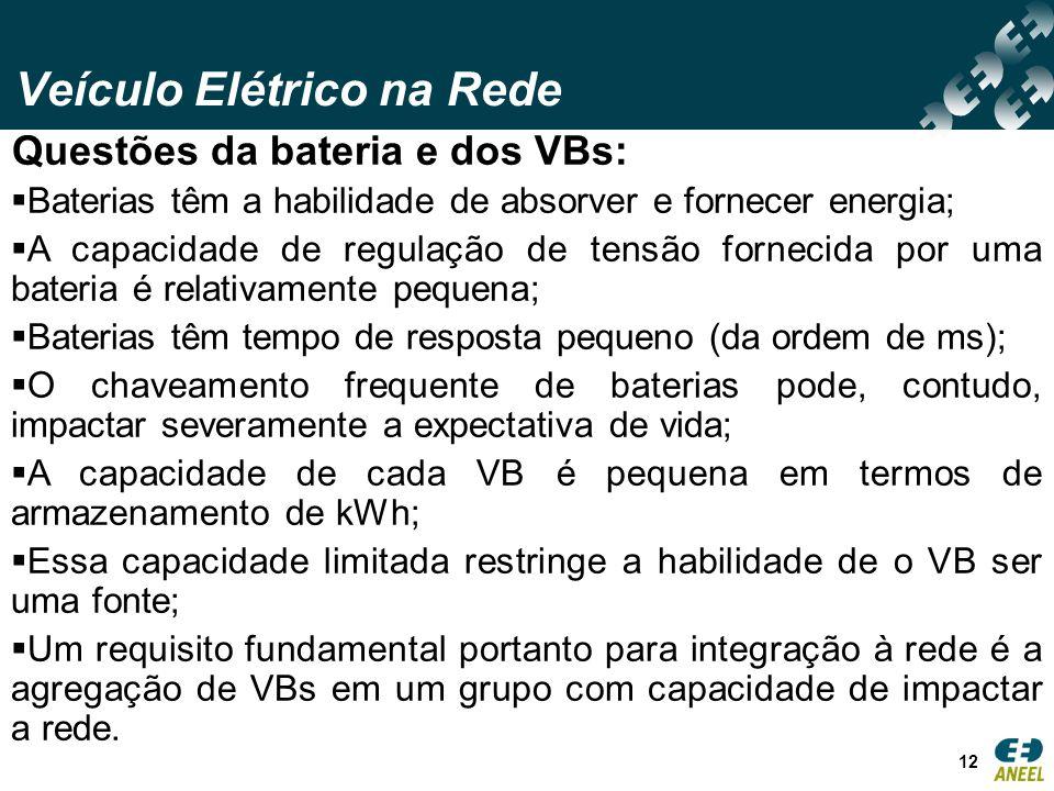 Veículo Elétrico na Rede 12 Questões da bateria e dos VBs: Baterias têm a habilidade de absorver e fornecer energia; A capacidade de regulação de tens