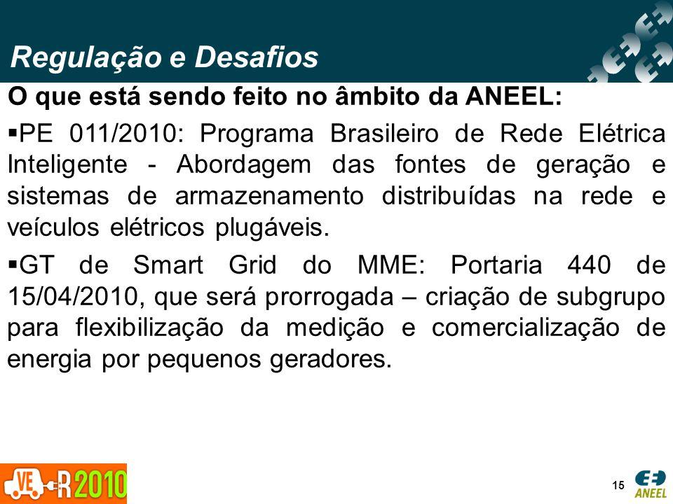 Regulação e Desafios 15 O que está sendo feito no âmbito da ANEEL: PE 011/2010: Programa Brasileiro de Rede Elétrica Inteligente - Abordagem das fonte