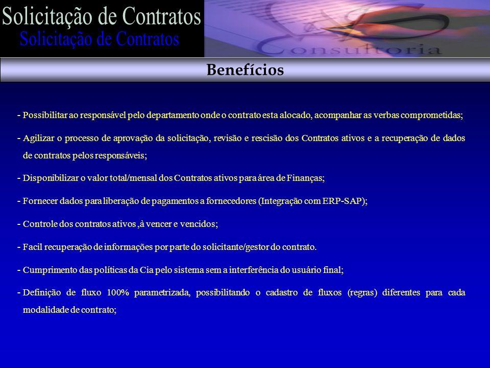 -Possibilitar ao responsável pelo departamento onde o contrato esta alocado, acompanhar as verbas comprometidas; -Agilizar o processo de aprovação da solicitação, revisão e rescisão dos Contratos ativos e a recuperação de dados de contratos pelos responsáveis; -Disponibilizar o valor total/mensal dos Contratos ativos para área de Finanças; -Fornecer dados para liberação de pagamentos a fornecedores (Integração com ERP-SAP); -Controle dos contratos ativos,à vencer e vencidos; -Facil recuperação de informações por parte do solicitante/gestor do contrato.