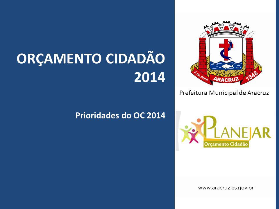 Prefeitura Municipal de Aracruz ORÇAMENTO CIDADÃO 2014 Prioridades do OC 2014