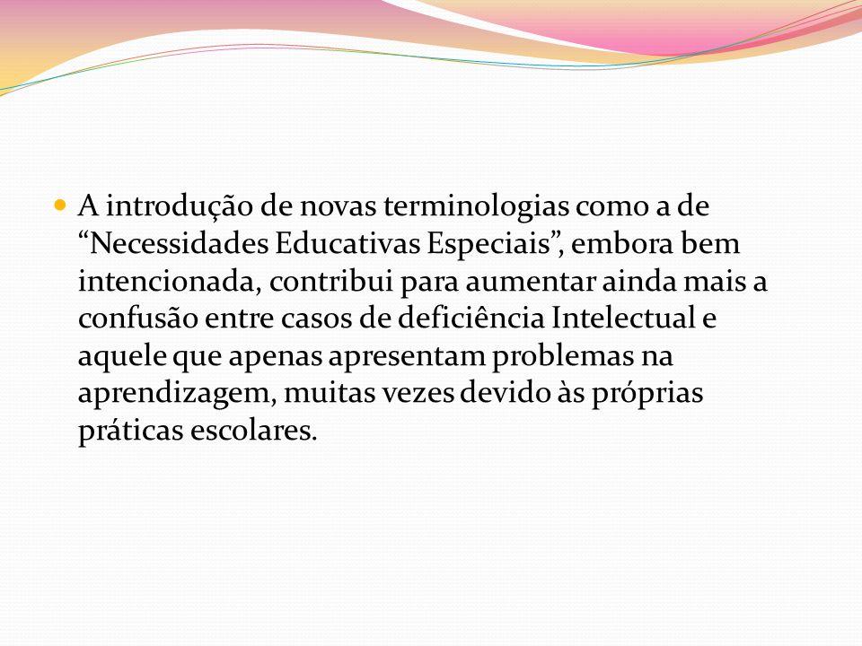 A introdução de novas terminologias como a de Necessidades Educativas Especiais, embora bem intencionada, contribui para aumentar ainda mais a confusã