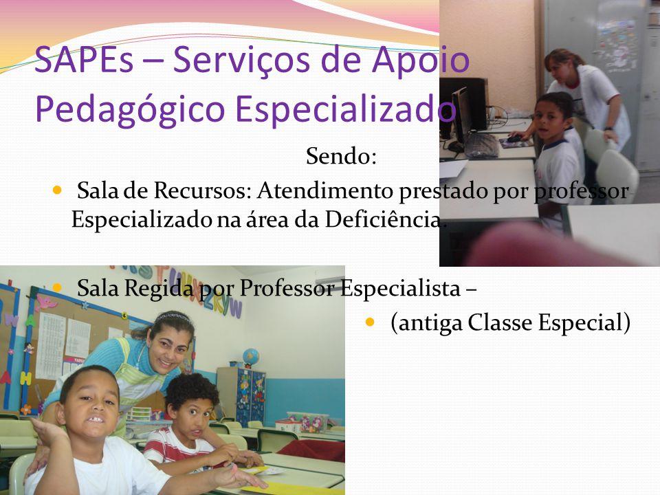 SAPEs – Serviços de Apoio Pedagógico Especializado Sendo: Sala de Recursos: Atendimento prestado por professor Especializado na área da Deficiência. S