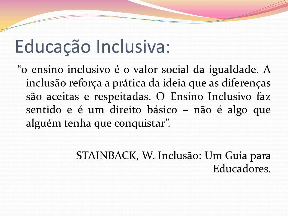 Educação Inclusiva: 0 ensino inclusivo é o valor social da igualdade. A inclusão reforça a prática da ideia que as diferenças são aceitas e respeitada