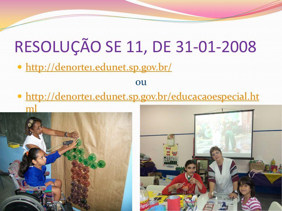 RESOLUÇÃO SE 11, DE 31-01-2008 http://denorte1.edunet.sp.gov.br/ http://denorte1.edunet.sp.gov.br/ ou http://denorte1.edunet.sp.gov.br/educacaoespecia