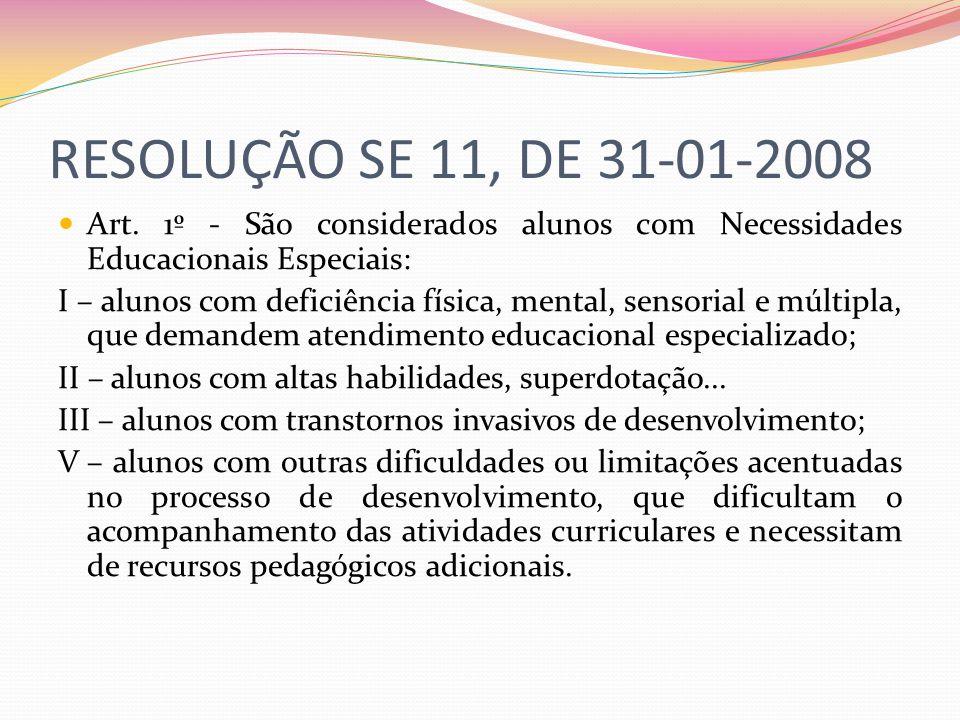RESOLUÇÃO SE 11, DE 31-01-2008 Art. 1º - São considerados alunos com Necessidades Educacionais Especiais: I – alunos com deficiência física, mental, s