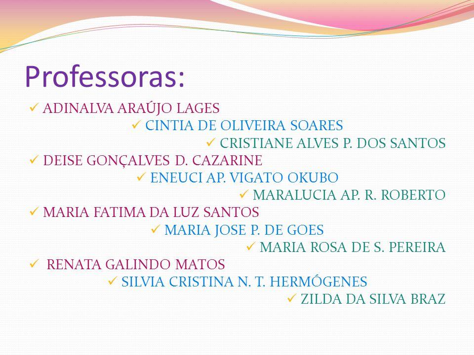 Professoras: ADINALVA ARAÚJO LAGES CINTIA DE OLIVEIRA SOARES CRISTIANE ALVES P. DOS SANTOS DEISE GONÇALVES D. CAZARINE ENEUCI AP. VIGATO OKUBO MARALUC