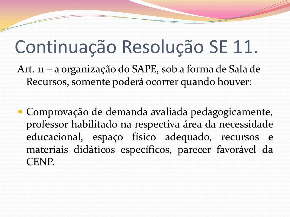 Continuação Resolução SE 11. Art. 11 – a organização do SAPE, sob a forma de Sala de Recursos, somente poderá ocorrer quando houver: Comprovação de de