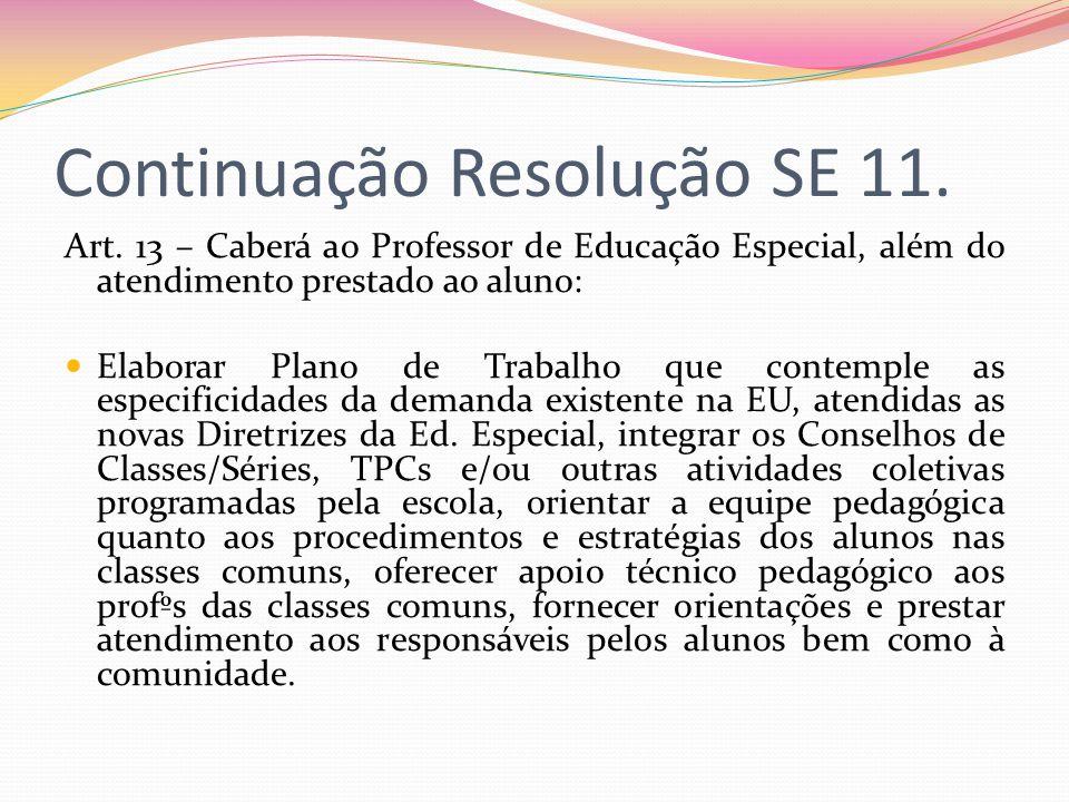 Continuação Resolução SE 11. Art. 13 – Caberá ao Professor de Educação Especial, além do atendimento prestado ao aluno: Elaborar Plano de Trabalho que