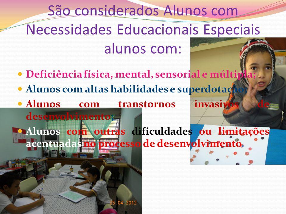 São considerados Alunos com Necessidades Educacionais Especiais alunos com: Deficiência física, mental, sensorial e múltipla; Alunos com altas habilid