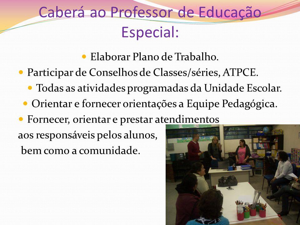 Caberá ao Professor de Educação Especial: Elaborar Plano de Trabalho. Participar de Conselhos de Classes/séries, ATPCE. Todas as atividades programada