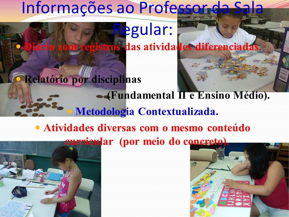 Informações ao Professor da Sala Regular: Diário com registros das atividades diferenciadas. Relatório por disciplinas (Fundamental II e Ensino Médio)