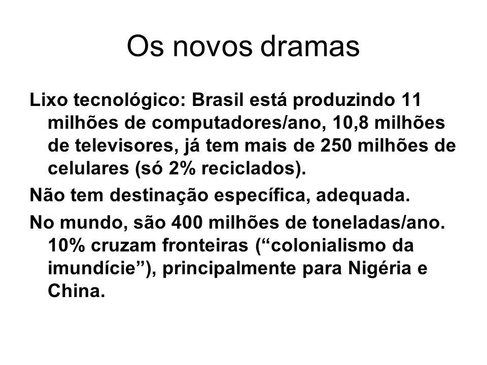 Os novos dramas Lixo tecnológico: Brasil está produzindo 11 milhões de computadores/ano, 10,8 milhões de televisores, já tem mais de 250 milhões de celulares (só 2% reciclados).