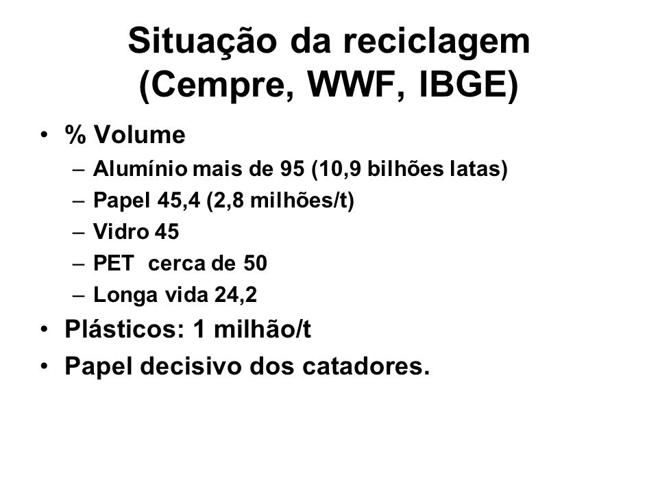 Situação da reciclagem (Cempre, WWF, IBGE) % Volume –Alumínio mais de 95 (10,9 bilhões latas) –Papel 45,4 (2,8 milhões/t) –Vidro 45 –PET cerca de 50 –