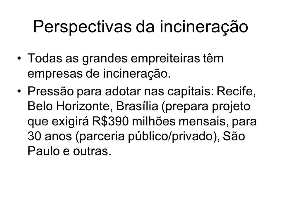 Perspectivas da incineração Todas as grandes empreiteiras têm empresas de incineração. Pressão para adotar nas capitais: Recife, Belo Horizonte, Brasí