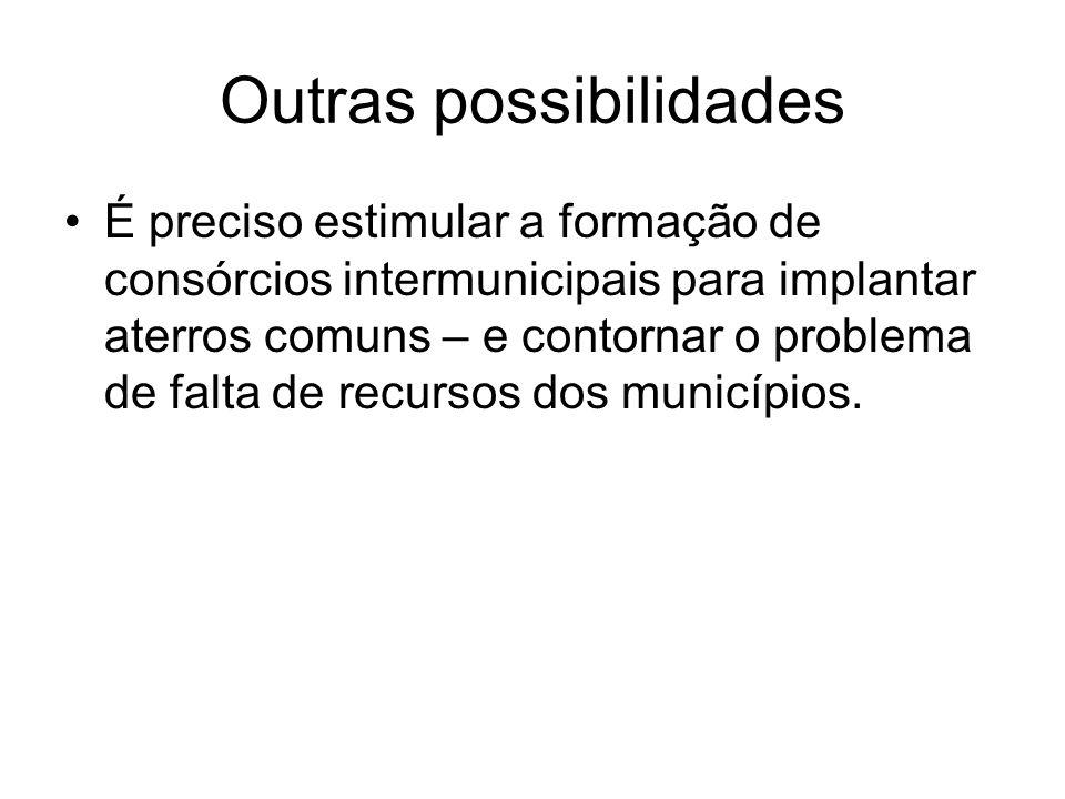 Outras possibilidades É preciso estimular a formação de consórcios intermunicipais para implantar aterros comuns – e contornar o problema de falta de recursos dos municípios.