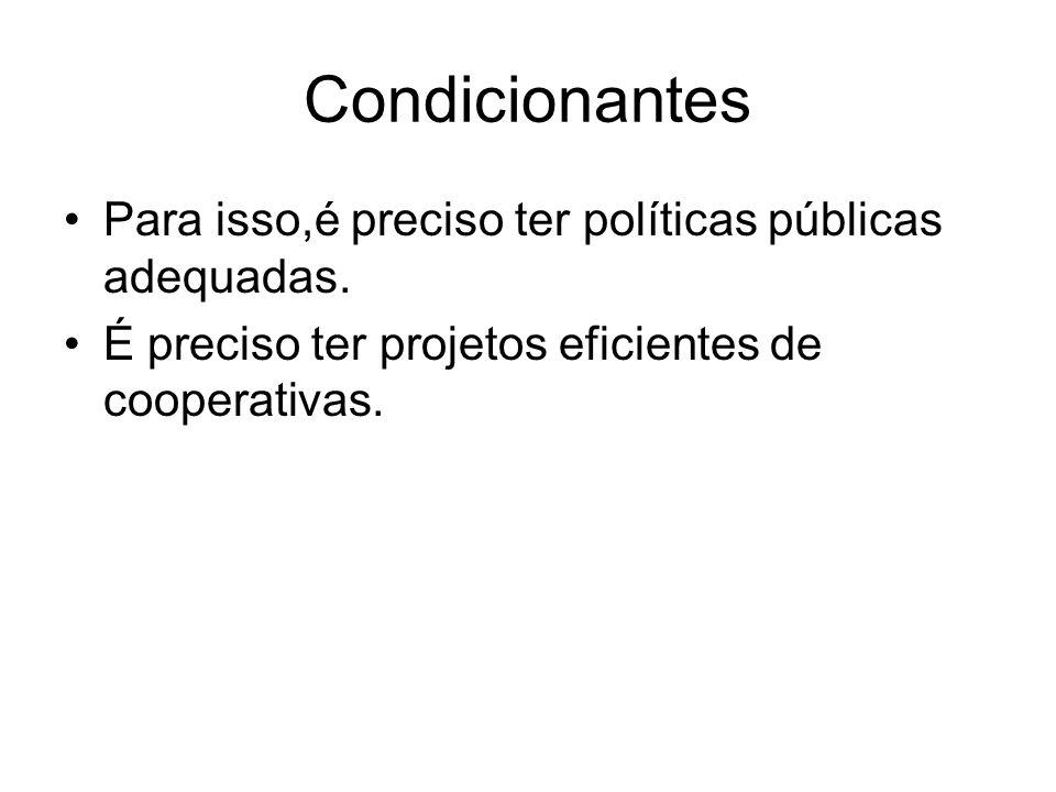 Condicionantes Para isso,é preciso ter políticas públicas adequadas. É preciso ter projetos eficientes de cooperativas.