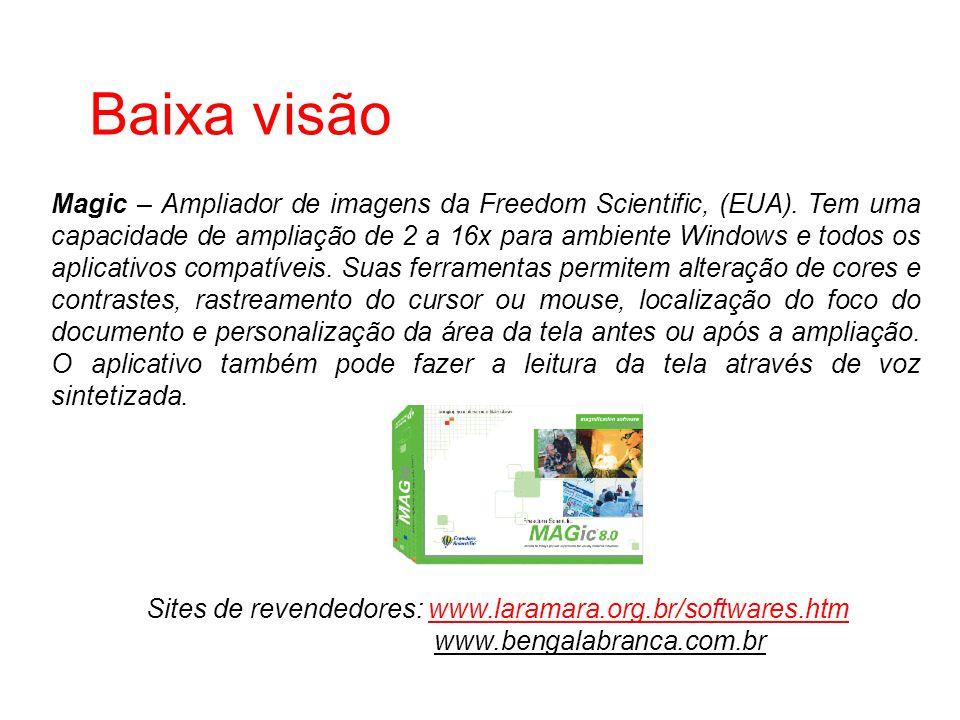 Baixa visão Sites de revendedores: www.laramara.org.br/softwares.htmwww.laramara.org.br/softwares.htm www.bengalabranca.com.br Magic – Ampliador de im