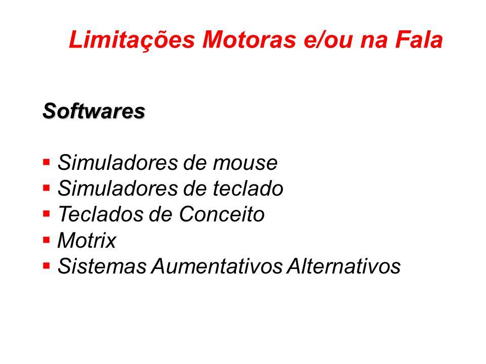 Softwares Simuladores de mouse Simuladores de teclado Teclados de Conceito Motrix Sistemas Aumentativos Alternativos de Comunicação Limitações Motoras