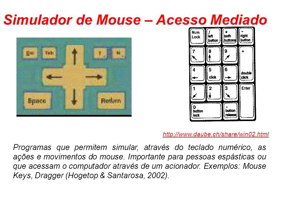 Simulador de Mouse – Acesso Mediado Programas que permitem simular, através do teclado numérico, as ações e movimentos do mouse. Importante para pesso